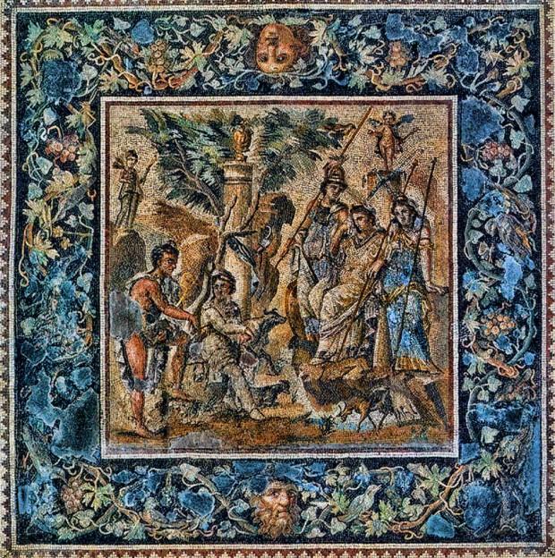 7. Üç Güzeller Mozaiği - Paris Louvre müzesi
