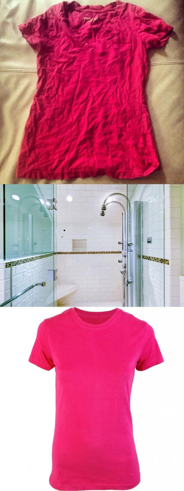 Kırışan kıyafetleriniz için küvete sıcak suyu açıp kıyafetinizi banyoya asın, banyonun kapısını kapatın. İçeride oluşan buhar sayesinde kırışan kıyafetinizin kırışıklıklar