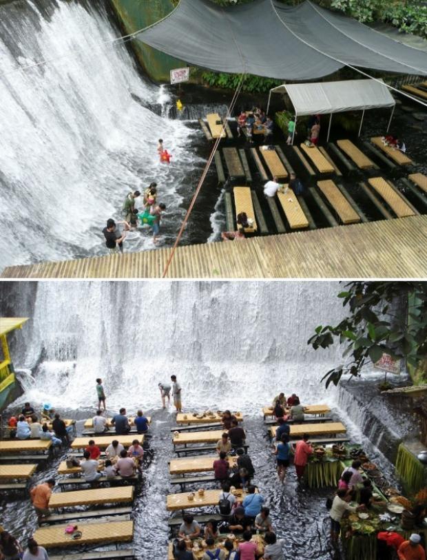 Labassin Waterfall Restaurant, Villa Escudero Resort, Filipinler