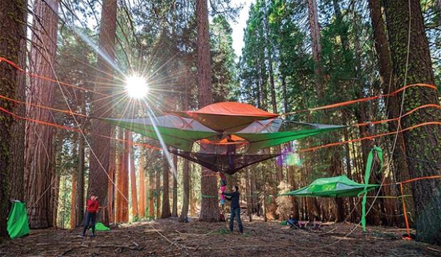 Çevreci yaklaşımıyla da öde çıkan çadırların kurulumu için üç ağaç gerekiyor.